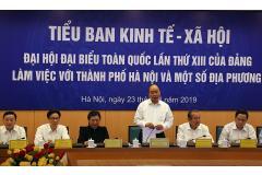 Tiểu ban Kinh tế - Xã hội lấy ý kiến đóng góp vào Văn kiện Đại hội đại biểu toàn quốc lần thứ XIII của Đảng