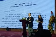 Speech by Representative of Canon Vietnam Co., Ltd