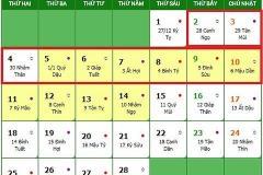 Tết nguyên đán 2019 được nghỉ mấy ngày?