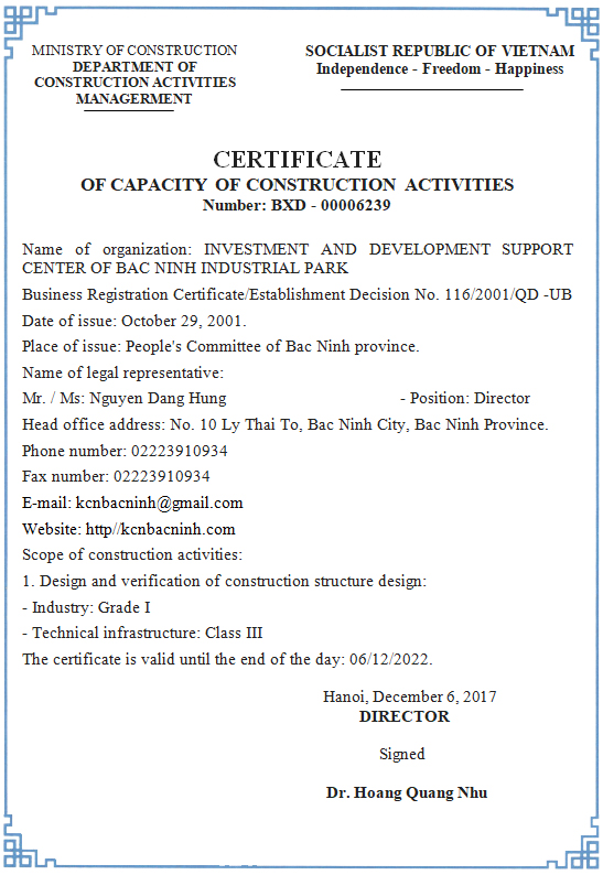 CERTIFICATE OF CAPACITY OF CONSTRUCTION